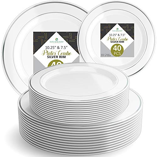 Disposable Plastic Plate Set - 40 Pack Dinnerware with 10.25