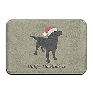 Darren Wesley con gorro de Papá Noel de Navidad de perro negro Lab Super absorbente antideslizante Mat Cojín de Super absorbente, alfombra Felpudo, Felpudo, 23.6x15.7/40x 60