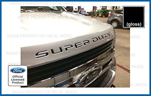 Decal Mods (2017-2019 Hood Grille Decal Sticker Letter Inserts Inlays for Ford F250 F350 F450 Super Duty - Black (Gloss) - CB F250 F350 F450 Decals Stickers