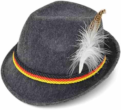 7c4dc04c18bc6 Melesh Adult Felt Swiss German Alpine Bavarian Oktoberfest Hat Cap