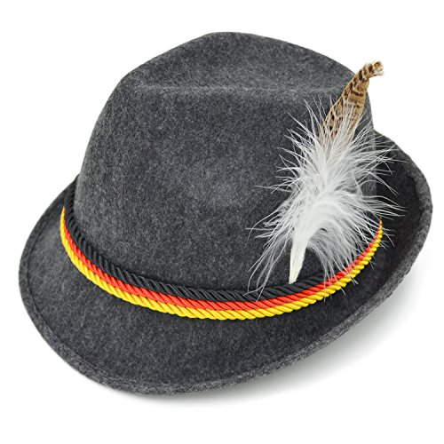 Melesh Adult Felt German Alpine Bavarian Oktoberfest Hat Cap for Men (L)