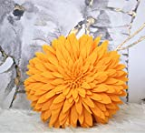 Decorative Pillow Case - 3D Daisy Throw Pillow - 15 x 13-inch Round Décor Pillow - Flower Home Decorations - Couch & Bed Flower-Shaped Pillow - Soft & Cozy Décor Piece - (Solid Gold Case Only)