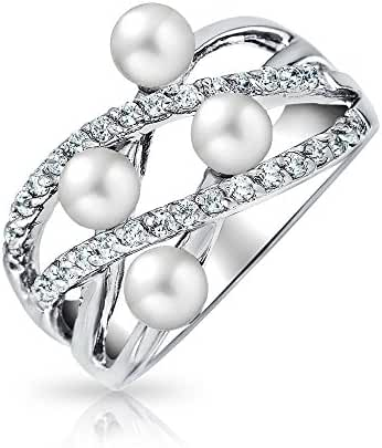Bling Jewelry 925 Silver CZ Simulated Pearl Criss Cross Cocktail Ring
