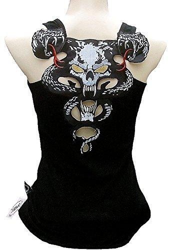 Rockabilly Punk Rock Baby Woman Black Tank Top Tee Cobra Snake Gothic Skull XL