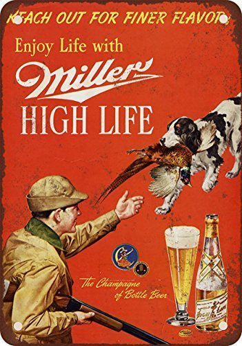 (HTFDS 1958 Miller Beer and Pheasant Hunting Vintage Look Reproduction Metal Tin Sign 8x12 Inches)