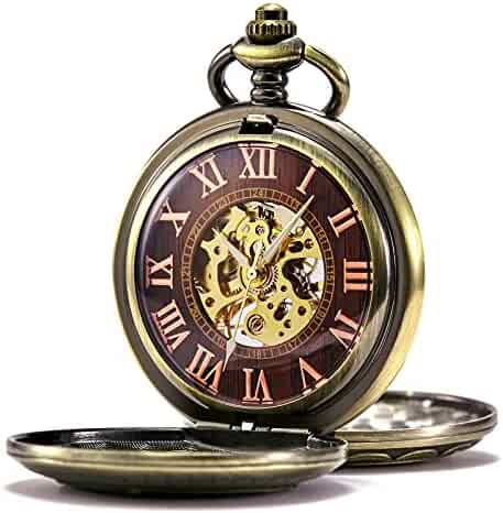 TREEWETO Mens Womens Antique Mechanical Pocket Watch Skeleton Bronze Case Steam Train Railroad Roman Numerals