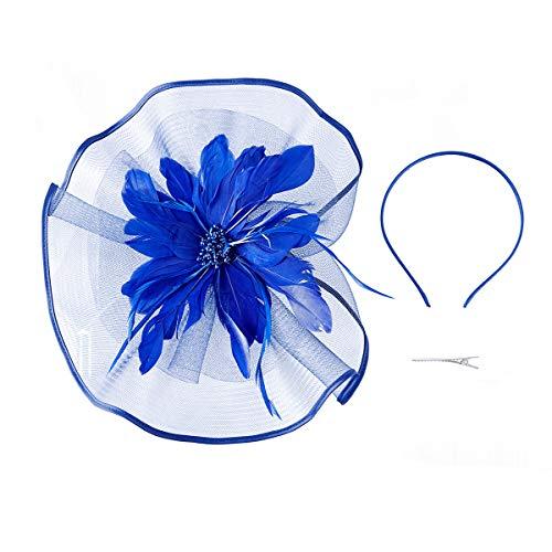 Fascinator Hat,Aiskki Fascinator Headband Feather Mesh Net Hat With Hairband,Tea Party Headwear,Flower Derby Hat with Clip,Kentucky Derby Hats for Women(Blue) by Aiskki (Image #3)