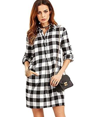 Floerns Women's Plaid Shirt Checkered Roll Tab Sleeve Autumn Dress