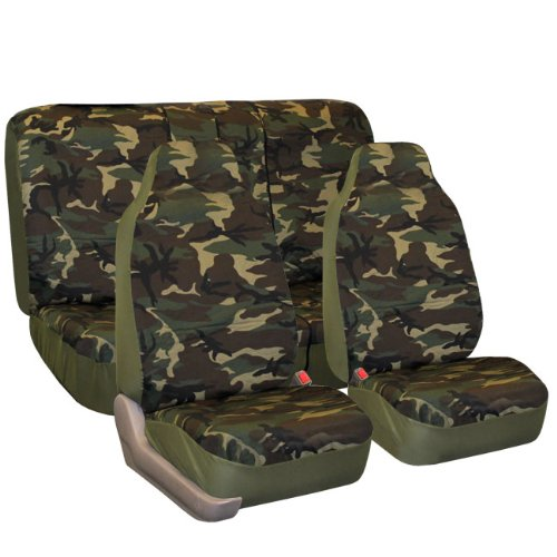 FH GROUP FH-FB109112 Camouflage Car Seat Covers, Airbag compatible and Split Bench, Dark Camo