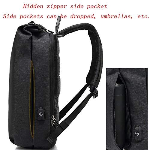 Lslmcs Travel Daypack Casual Business College Zaino Zaino Casual Resistente allAcqua 15,6Laptop Daypack USB Porta di Ricarica per Uomini E Donne Nero