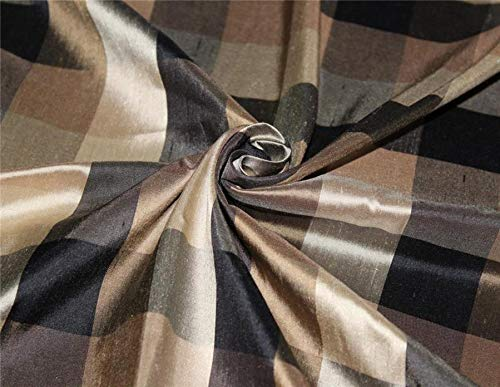 Puresilks Silk Dupioni Fabric Plaids Shades of Black and Gold Color 54'' Wide DUP#C102[3]