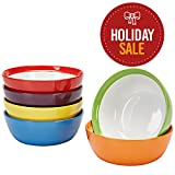 microwave ceramic plate - Premium Ceramic Set of 6, Colorful Meal Stoneware (6, Breakfast Bowls)