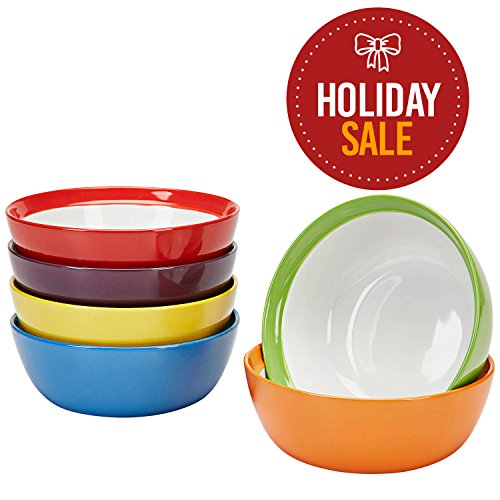 Premium Ceramic Set of 6, Colorful Meal Stoneware (6, Breakfast Bowls) (Bowls Microwave Ceramic Safe)
