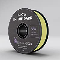 PLA Glow in the Dark, Sunshine Yellow 3D Printing Filament, 3 mm from Black Magic 3D