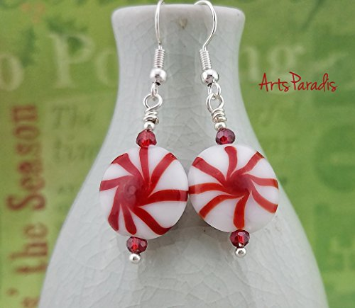 Holiday Winter Red and White Lampwork Glass Peppermint Candy Dangle Earrings by - Glass Earrings Lampwork Dangle