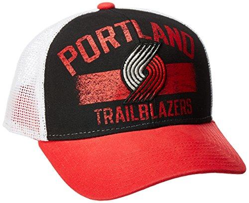 fan products of NBA Portland Trail Blazers Men's Downtown Trucker Meshback Hat, Black, One Size