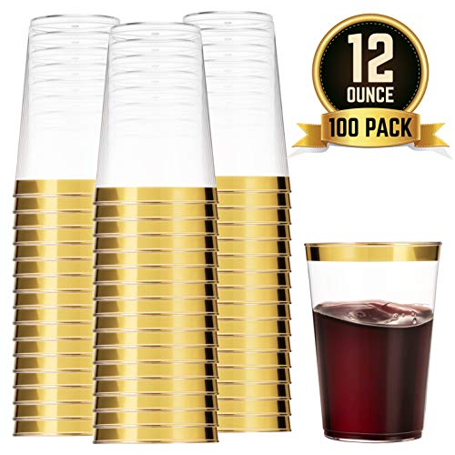 100 Gold Plastic Cups 12 Oz Clear Plastic Cups Tumblers Gold Rimmed Cups Fancy Disposable Wedding Cups Elegant Party Cups with Gold -