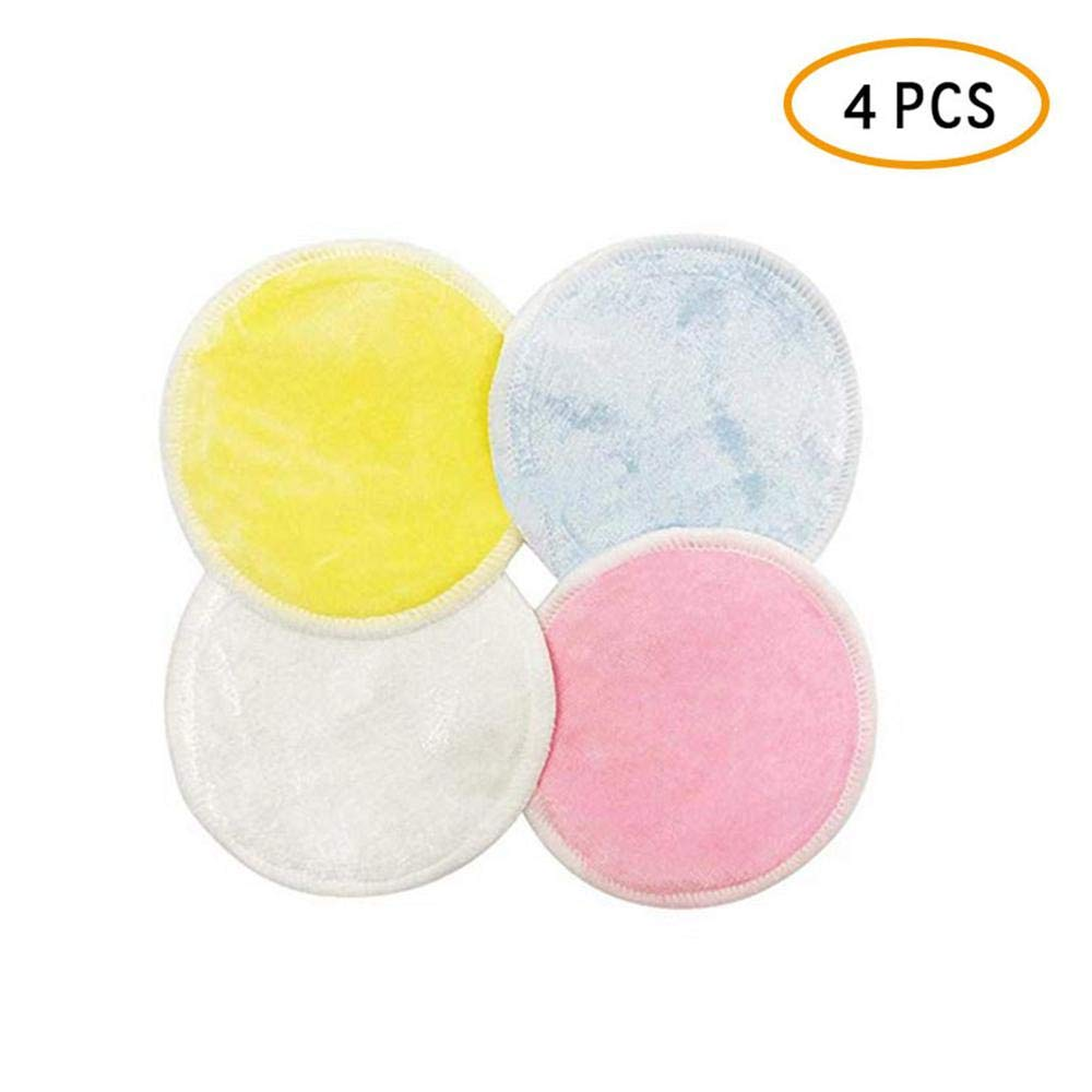 Reusable Makeup Remover Pads, Womdee Crystal Velvet Bamboo Fiber Cleansing Pads Chemical Free Wipes Face Clean Soft Facial Makeup Cleansing Pads with Laundry Bag Double Layer for Woman 4 PCS