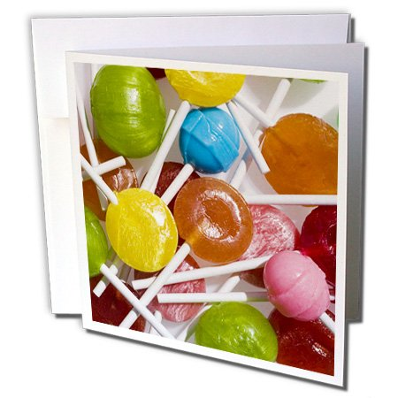 3dRose Colorful collection of lollipop candy on sticks - LI07 BJA0001 - Jaynes Gallery - Greeting Cards, 6 x 6 inches, set of 6 (gc_83225_1) -