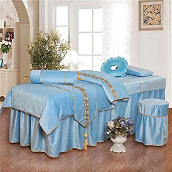 Image of ALHBNAY Round Head Beauty Massage Table Sheet Sets Bedspreads Bed Skirt Sheet, Luxury Massage Therapy Body Beauty Salon Bed Cover, 6pc- Light Blue 70x190cm(28x75inch) Home and Kitchen