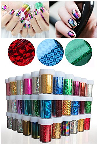 Decal Foils - XICHEN 48 Colors Starry Sky Stars Nail Art Stickers Tips Wraps Foil Transfer Adhesive Glitters Acrylic DIY Decoration 48PCS 48 Colors Each volume Specification 4cm100cm