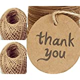 200PCS Gift Tags with String Thank You Paper Tags for Wedding Party and Baby Show Flavor