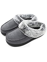 Women's Comfort Micro Suede Memory Foam Slippers Non Skid House Shoes w/Faux Fur Collar