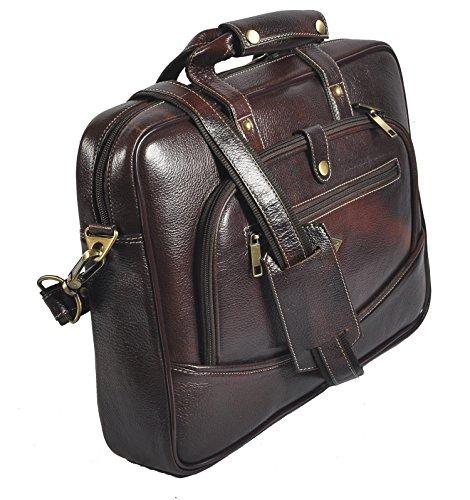 laveri auténtica maletín portátil Messenger de piel cruzado bolso bandolera 420 marrón
