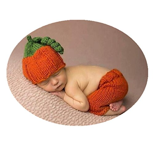 Fashion Cute Newborn Boy Girl Baby Outfits Photography Props Pumpkin Hat Pants Clothes