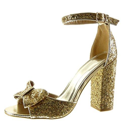 Angkorly - Zapatillas de Moda Sandalias Tacón escarpín sexy mujer pajarita brillante tanga Talón Tacón ancho alto 11 CM - Oro