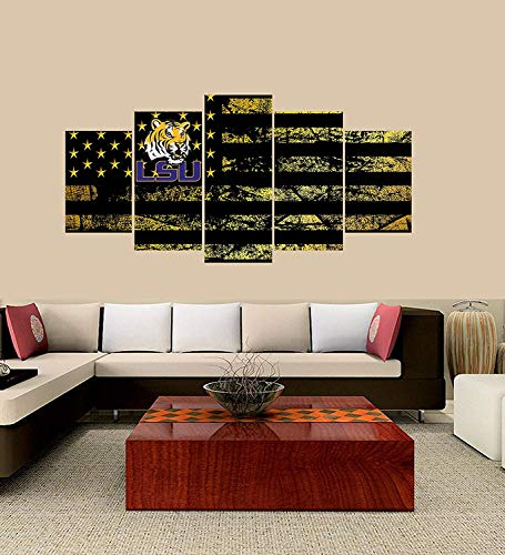(XINGAKA Premium Quality XINGAKAed Wall 5 Pieces / 5 Pannel Wall Decor LSU Tigers Logo Painting, Home Decor Football Sport Pictures)