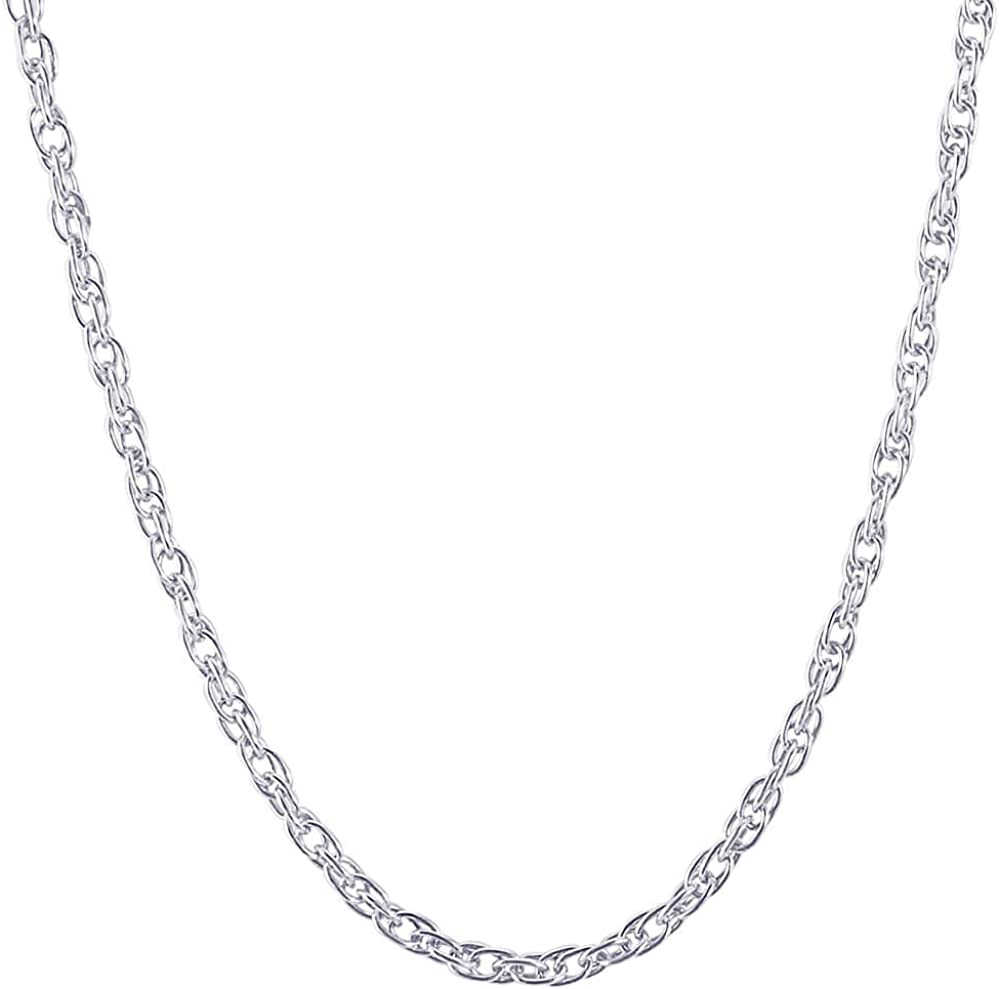 Rembrandt Sterling Silver Two-Tone Bow Charm on a Sterling Silver Rope Chain Necklace