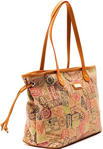Borsa Donna Spalla + Laccio Safari Cuoio Alviero Martini Shopping Bag Woman Beige Leather