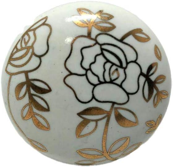 dise/ño de naturaleza de color blanco y dorado Pomos de cer/ámica para armario