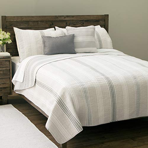 Design Studio Sanibel Island 5-Piece Reversible Quilt Set, With Shams,  Striped Pattern, Modern,Comfort and Warmth, 100%Cotton, Gray, Full/Queen