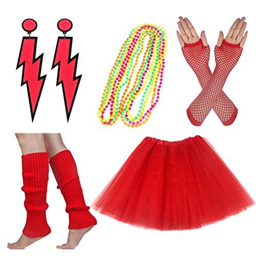 80 Fancy Dress (Women's 80s Fancy Outfit Costume Accessories Set Adult Tutu Skirt Long Socks Fishnet Gloves Neon Earrings Beads (B))