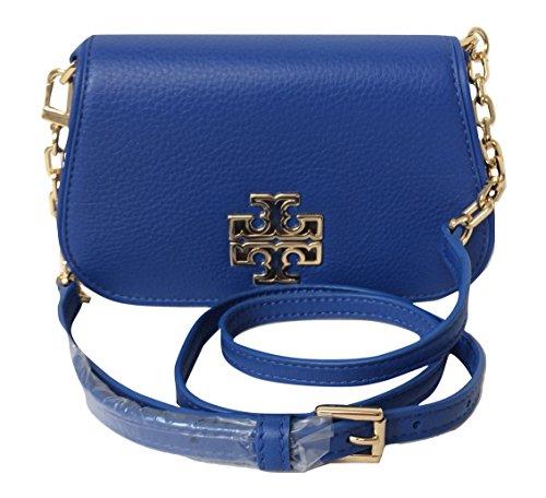 Tory Burch Britten Pebbled Leather MINI Bag (Bondi - Tory Blue Burch Bag