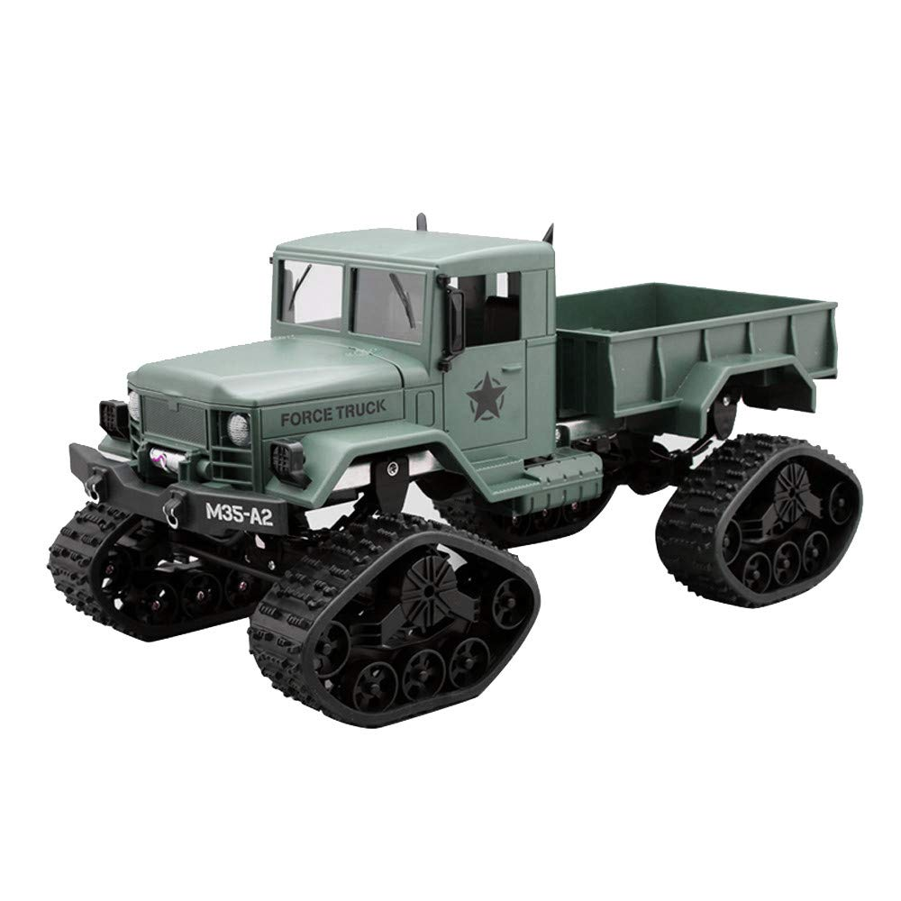Vovomay CIS-FY2001G, Military Rock Racer - RC Military Truck Army 1: 16 4WD Tracked Wheels Crawler Off-Road Car RTR Toy New (Green), Gray