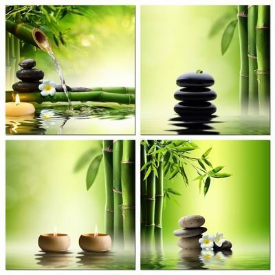Contemporary Panel - Pyradecor Modern 4 Panel Stretched and Framed Contemporary Zen Giclee Canvas Prints Perfect Bamboo Green Pictures on Canvas Wall Art for Home Office Decorations Living Room Bedroom