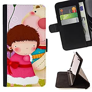DEVIL CASE - FOR Samsung Galaxy Note 4 IV - Cute Girls Gang - Style PU Leather Case Wallet Flip Stand Flap Closure Cover