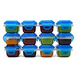 SnapLock Mini Baby Food Storage Containers, Set of 12, 3 ounces each
