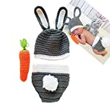 Easter Bunny Rabbit Costume Newborn Photography Props Crochet Knit Outfits 3 to 12 Months Newborn Shoot Grey