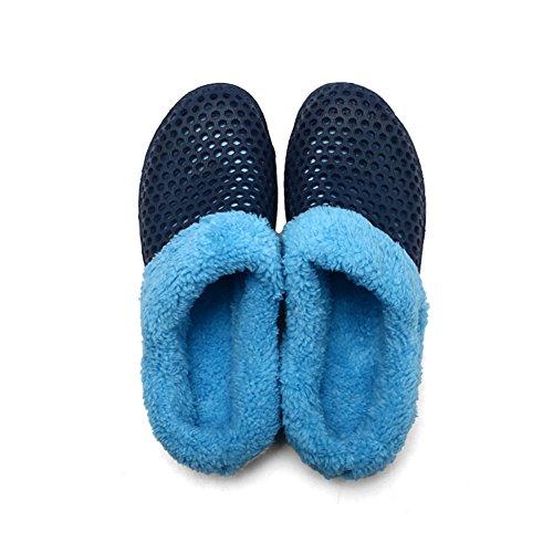 Diapositives Winter De Mules Warm Fur Tongs Sabots Blue Femmes Slipper HangFan Fourrure Slip Hommes On Bascules Doublures Jardin Chaussures HZAwP