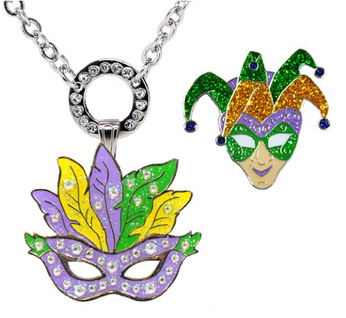 Navika Magnetic Necklace with Swarovski Crystal Mardi Gras Mask and Glitzy Jester Ball Markers