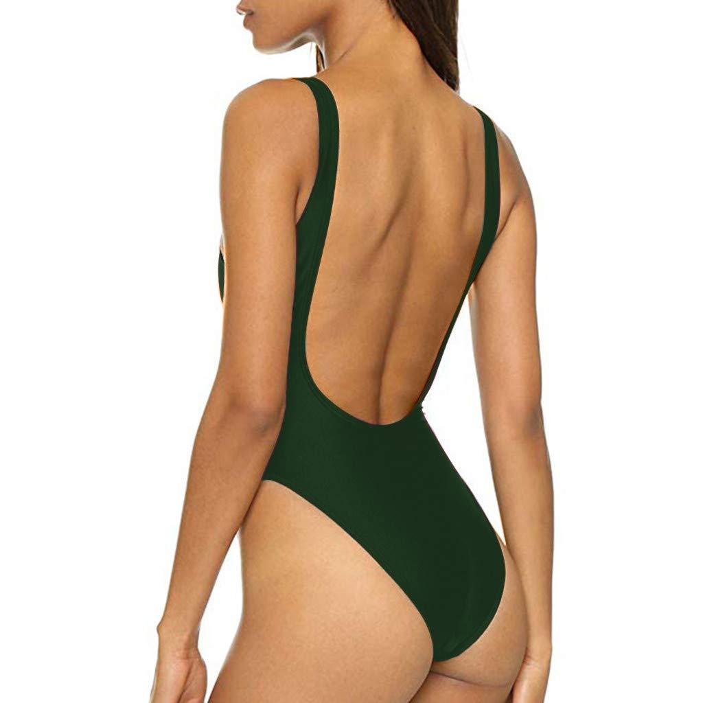 ZSBAYU Womens Retro 80s//90s Inspired High Cut Low Back Padding One Piece Swimwear Bathing Suits
