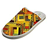 Jane-LEE Africa Arts Paintings House Slippers/Cotton Slippers/Flat Shoes/Indoor Slippers 14 B(M) US