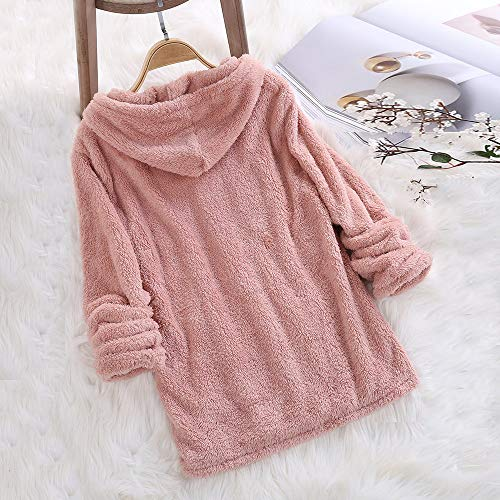 Soft Pink Sweatshirts Long Solid RedBrowm Top Women Sleeve Hooded Classic Solid Plush 6R0qUP