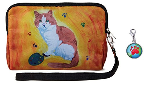 Cat Wristlet Zip-top with Detachable Strap and Charm - Yes, Salvador Really Does Paint
