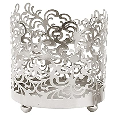 """Hosley's 4.5"""" High, Lace Jar Candle Sleeve,Tea Light Lantern. Silver Finish. Ideal Gift ,Weddings, for Spa, Aromatherapy, home, Votive garden"""