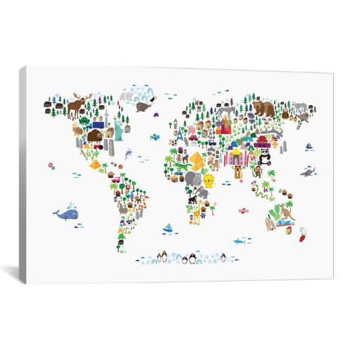 iCanvasART Animal Map of The World by Michael Thompsett Canvas Art Print, 40 by 26-Inch by iCanvasART